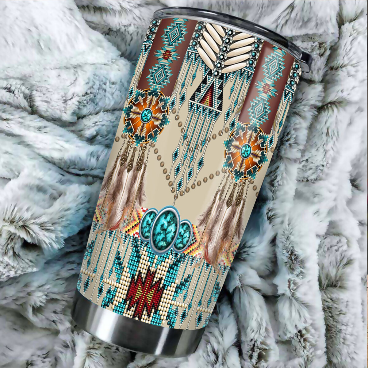 native american art all over print stainless steel tumbler 4