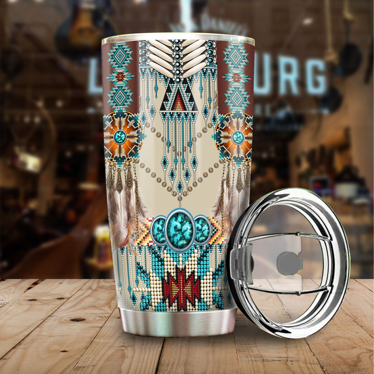 native american art all over print stainless steel tumbler 5