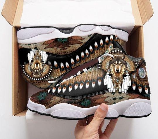 native american wolf all over print air jordan 13 sneakers 1