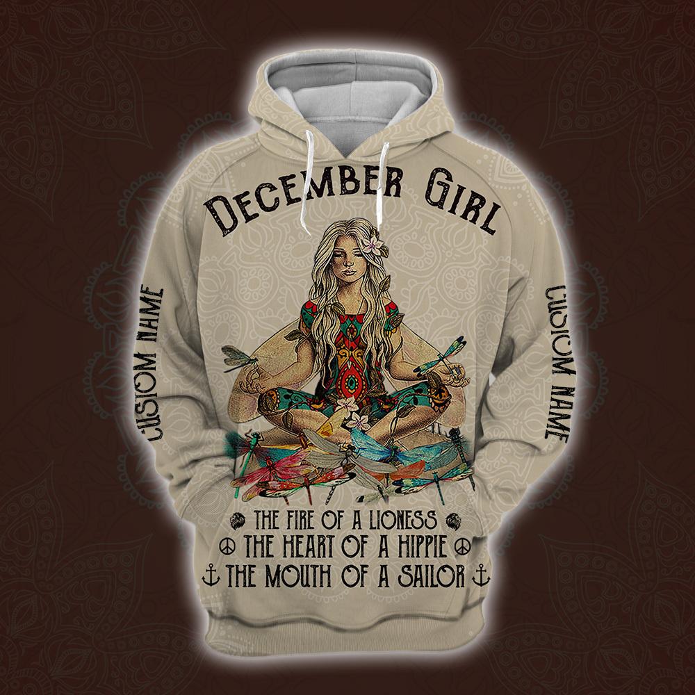 personalized name december yoga girl full printing shirt 1
