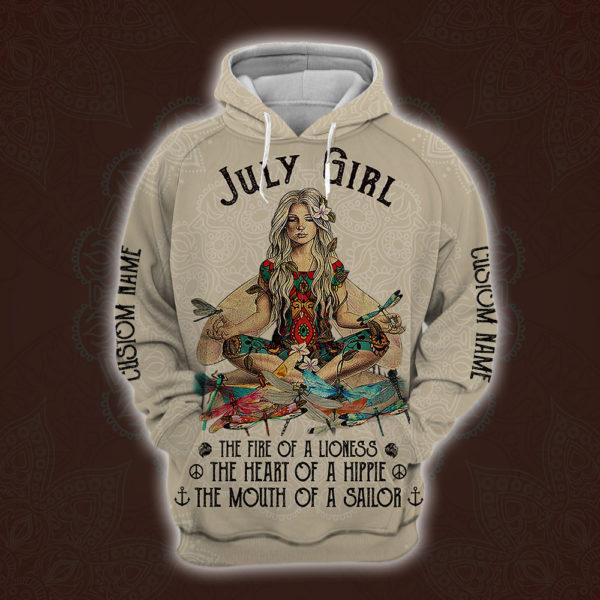 personalized name july yoga girl full printing shirt 1