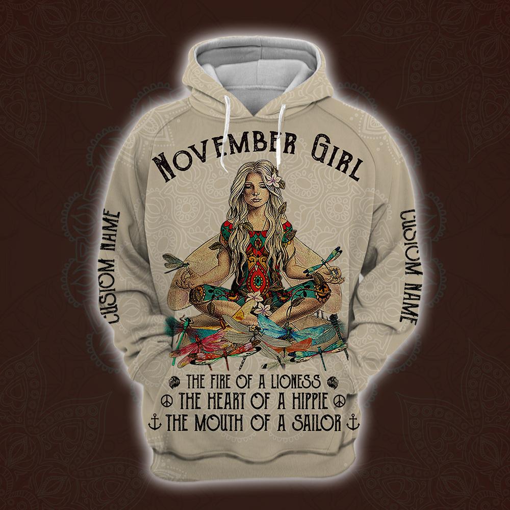 personalized name november yoga girl full printing shirt 1