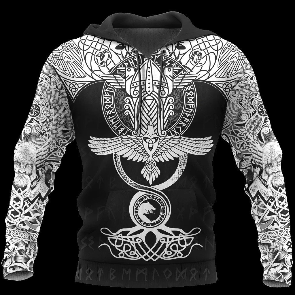 raven of odin viking symbol all over printed shirt 1