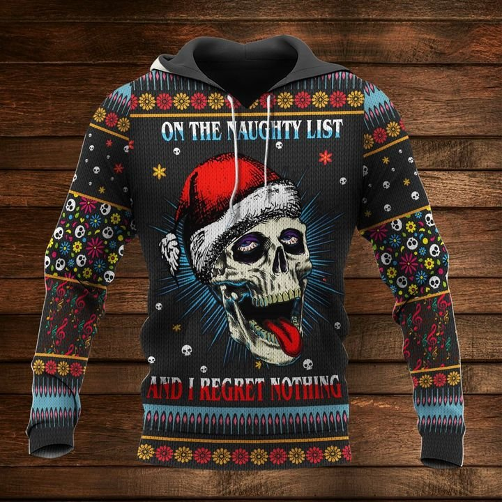 skull on the naughty list and i regret nothing full printing shirt 1