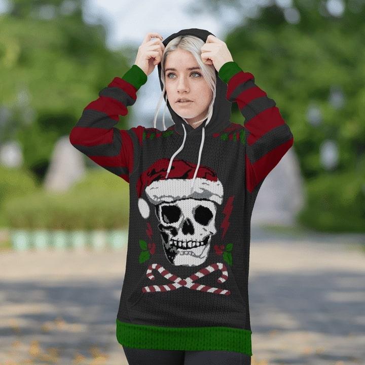 skull santa christmas time full printing shirt 1
