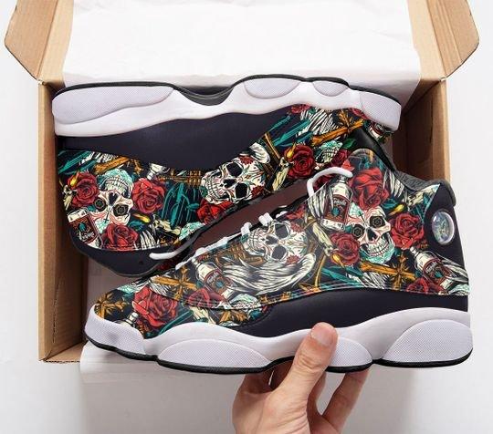 skull tattoo pattern roses all over printed air jordan 13 sneakers 1
