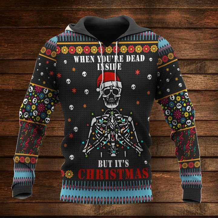 skull when youre dead inside but its christmas full printing shirt 1
