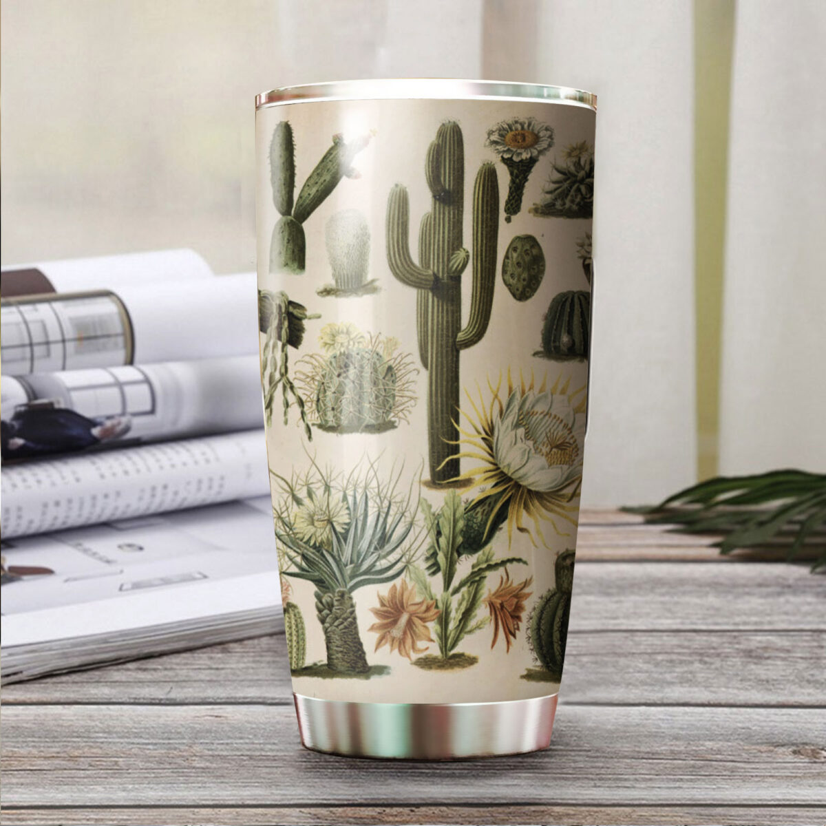 the cactus garden all over print stainless steel tumbler 3