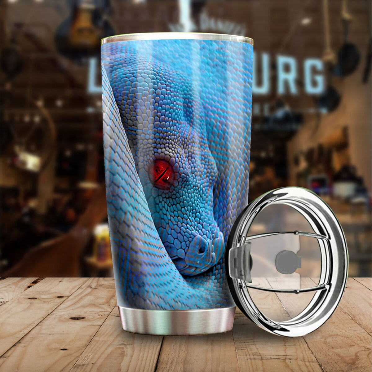 the green python all over print stainless steel tumbler 4