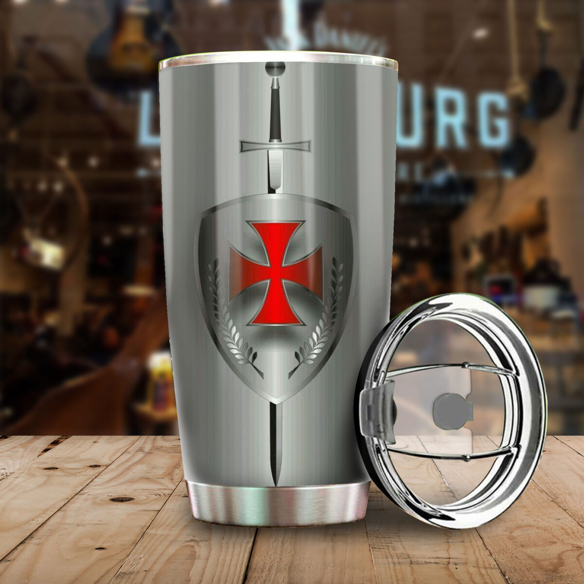 the knight templar all over print stainless steel tumbler 4