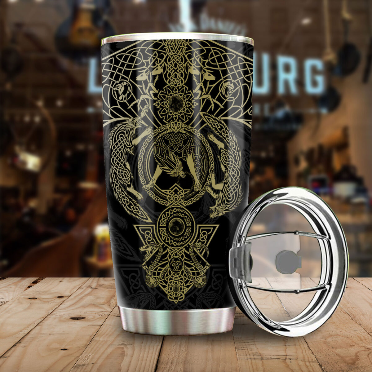 the wolf viking all over print stainless steel tumbler 4