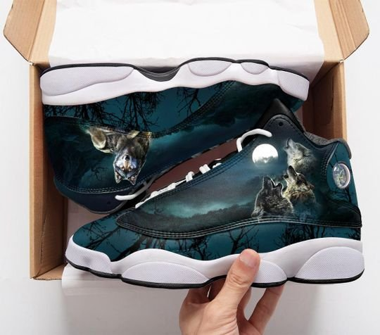 three wolf with moon all over print air jordan 13 sneakers 1