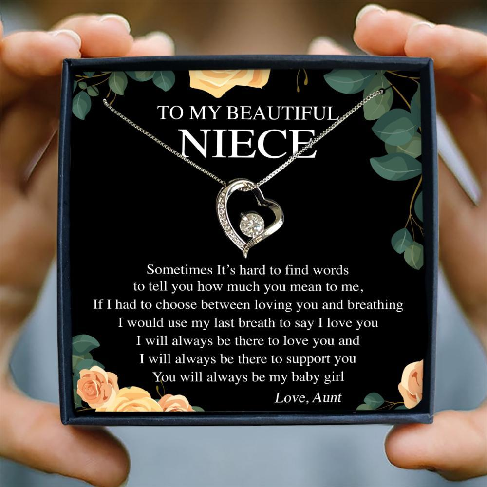 to my beautiful niece sometimes it's hard to find words love aunt hearts necklace 2