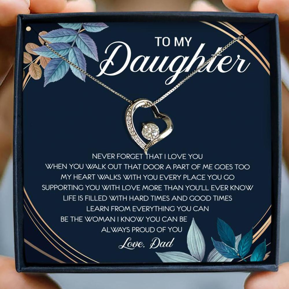 to my daughter never forget that i love you love dad hearts necklace 2