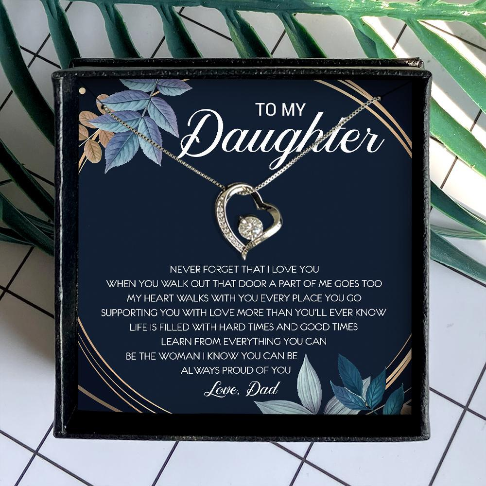 to my daughter never forget that i love you love dad hearts necklace 4