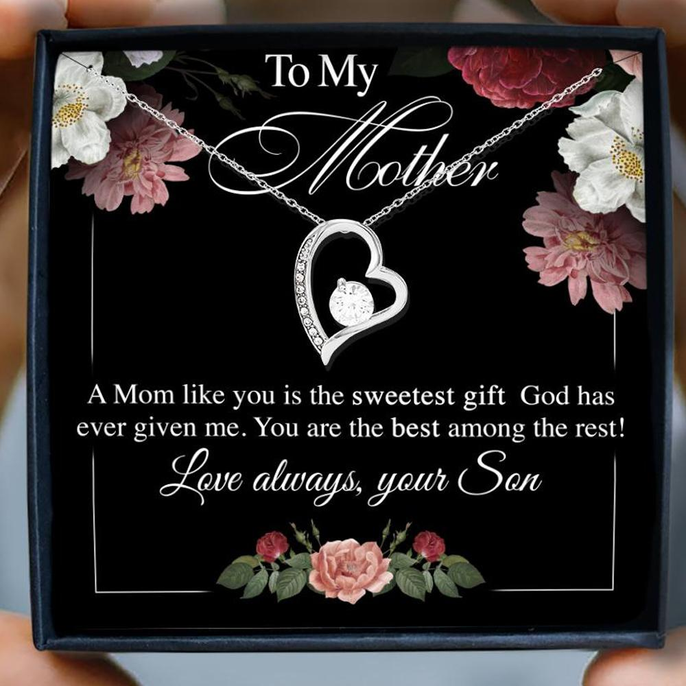 to my mother a mom like you is the sweetest gift your son hearts necklace 2