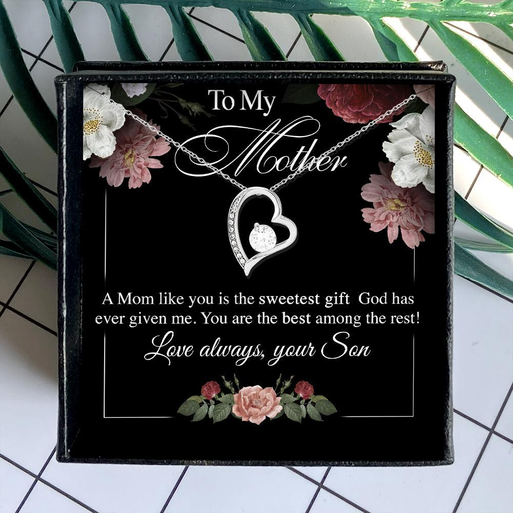 to my mother a mom like you is the sweetest gift your son hearts necklace 4