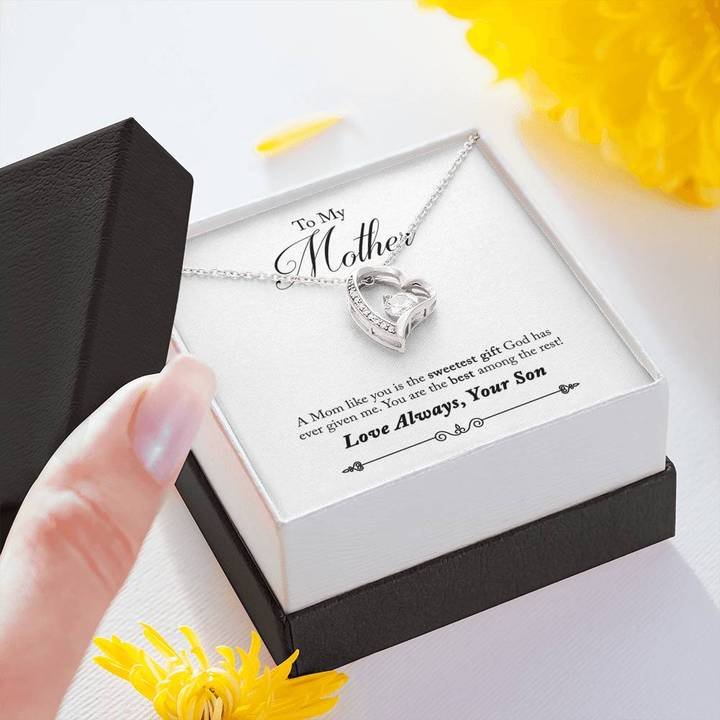 to my mother you are the best among the rest love always your son hearts necklace 3