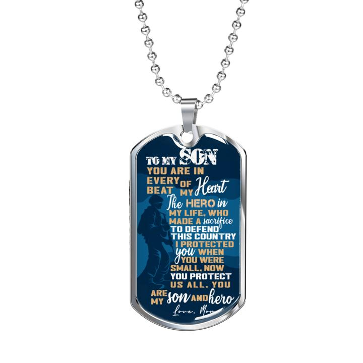 to my son you are my son and hero love your mother military dog tag 2