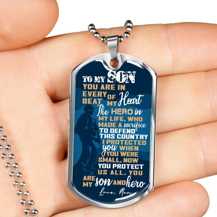 to my son you are my son and hero love your mother military dog tag 3