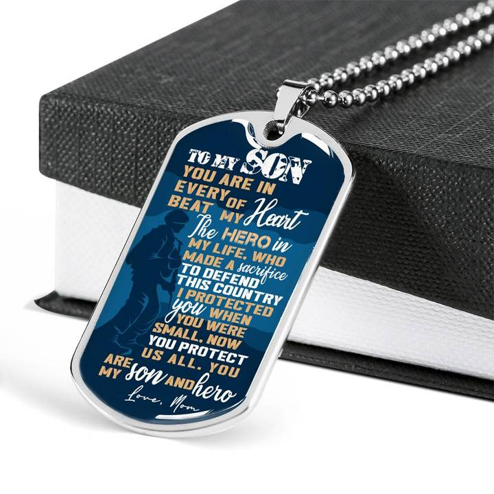 to my son you are my son and hero love your mother military dog tag 5