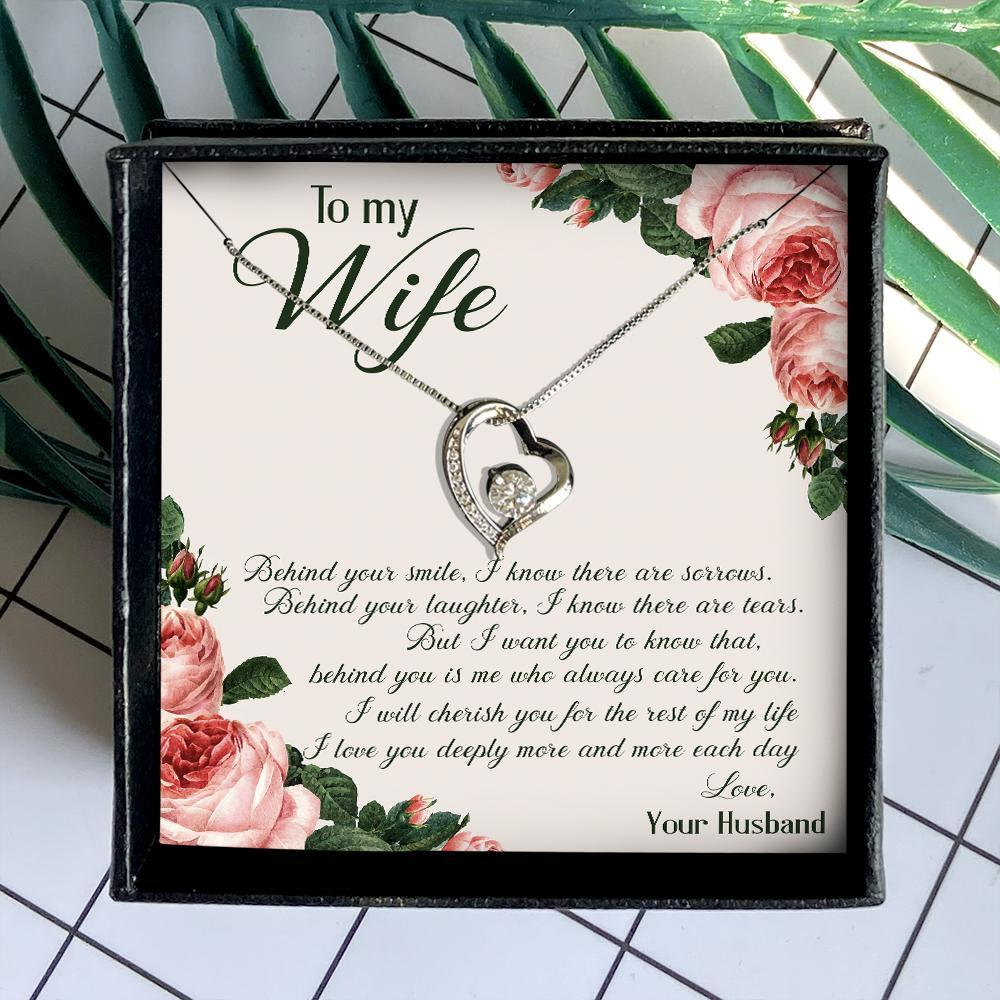 to my wife behind your smile i know there are sorrows husband roses hearts necklace 2