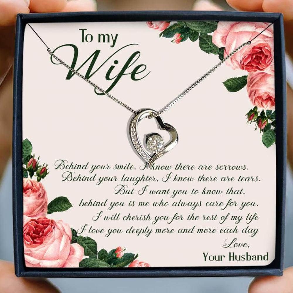 to my wife behind your smile i know there are sorrows husband roses hearts necklace 3