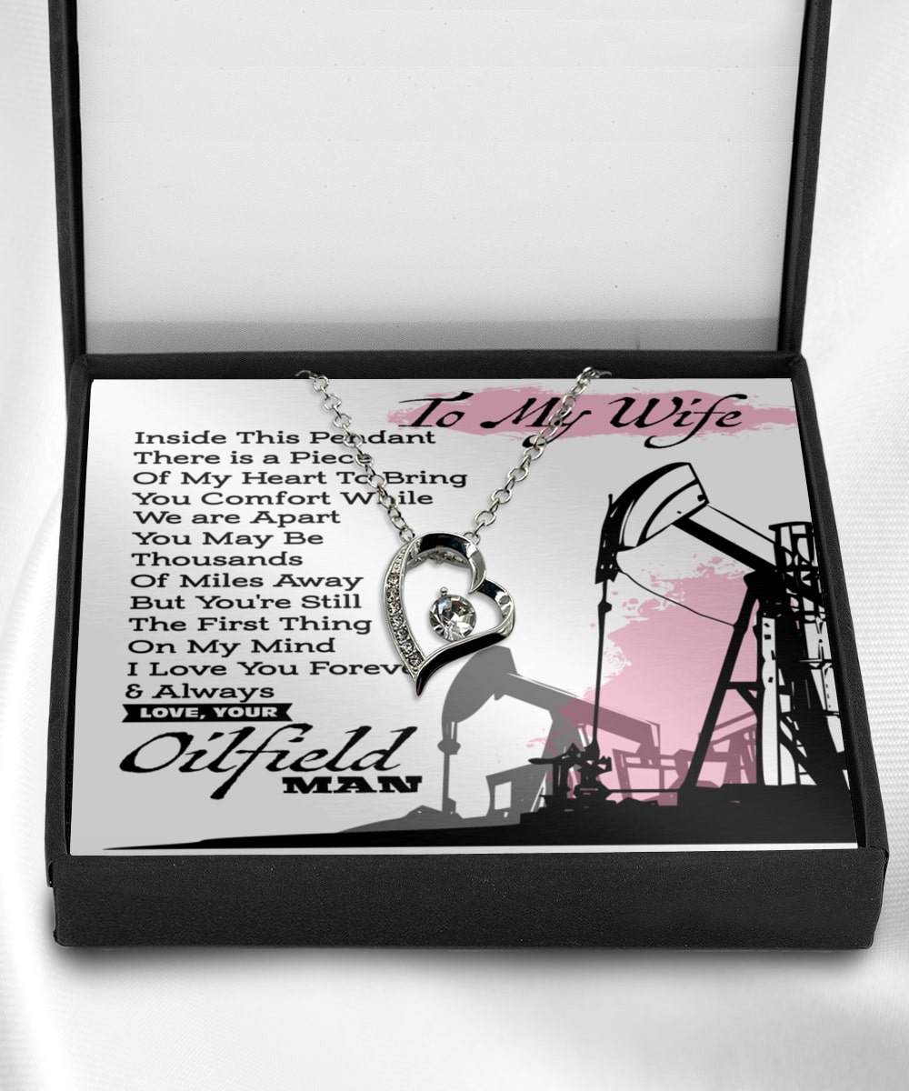 to my wife i love you forever and always love oilfield man hearts necklace 2