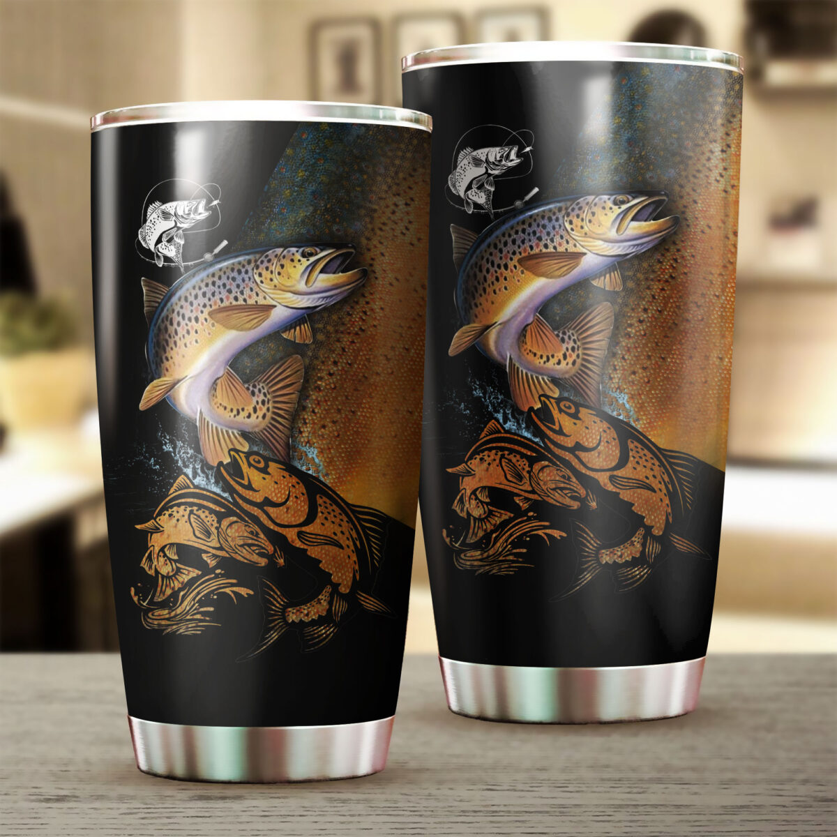 trout fishing for fisher all over print stainless steel tumbler 2