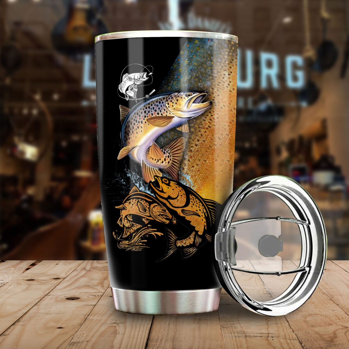 trout fishing for fisher all over print stainless steel tumbler 3