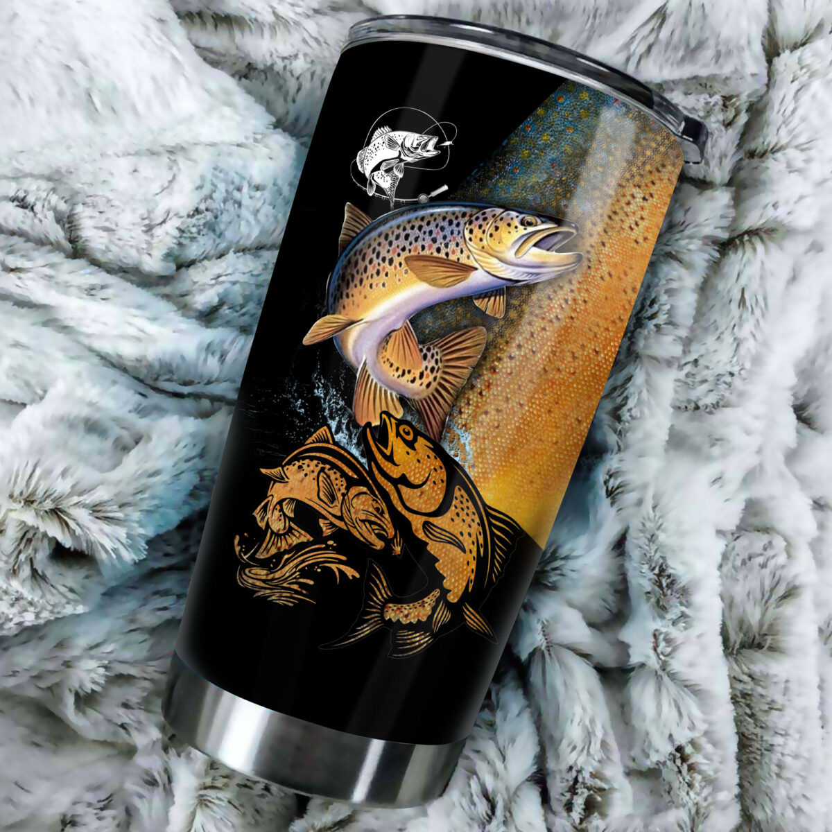 trout fishing for fisher all over print stainless steel tumbler 5