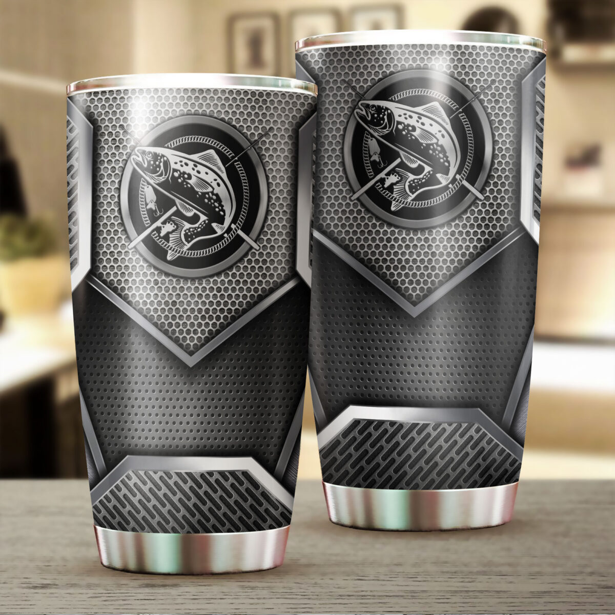 trout fishing metal all over print stainless steel tumbler 2