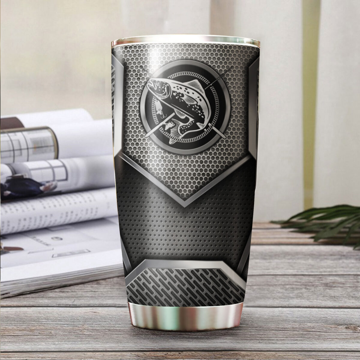 trout fishing metal all over print stainless steel tumbler 3