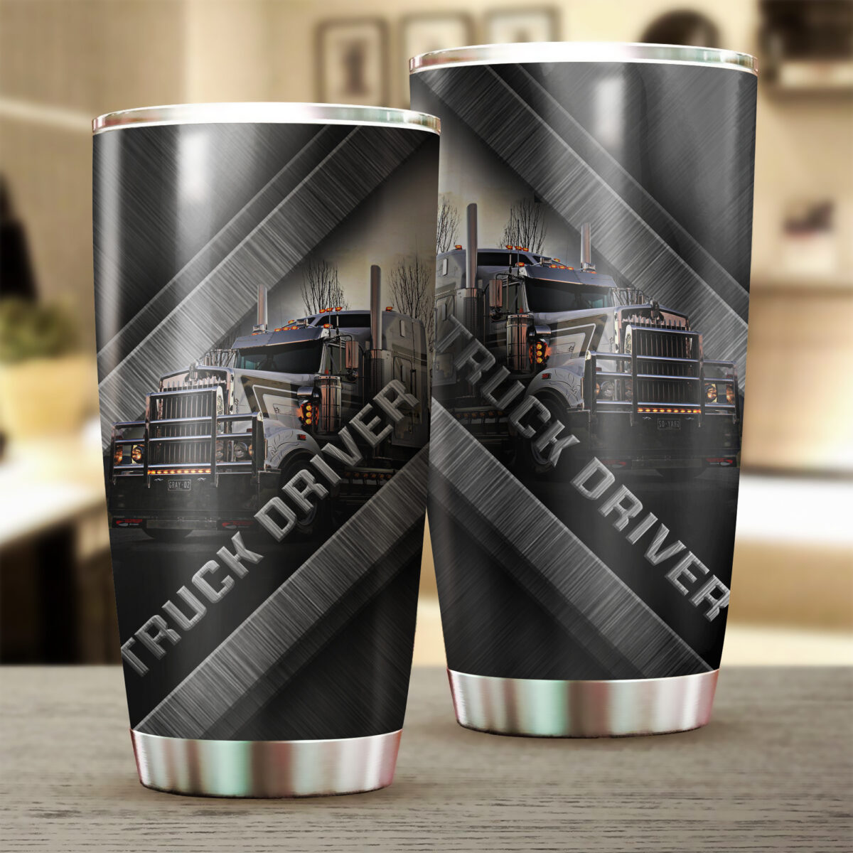 truck driver metal all over print stainless steel tumbler 2