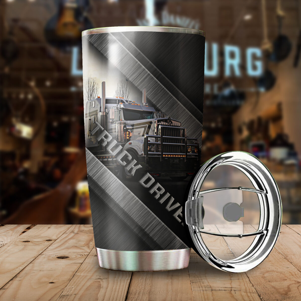truck driver metal all over print stainless steel tumbler 3