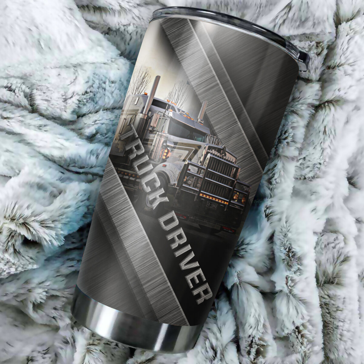 truck driver metal all over print stainless steel tumbler 5