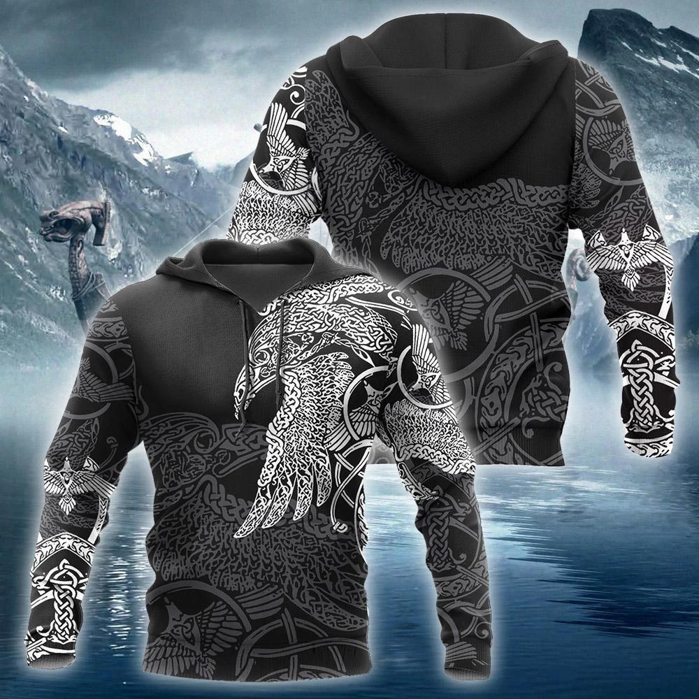 viking munin raven tattoo all over printed shirt 1