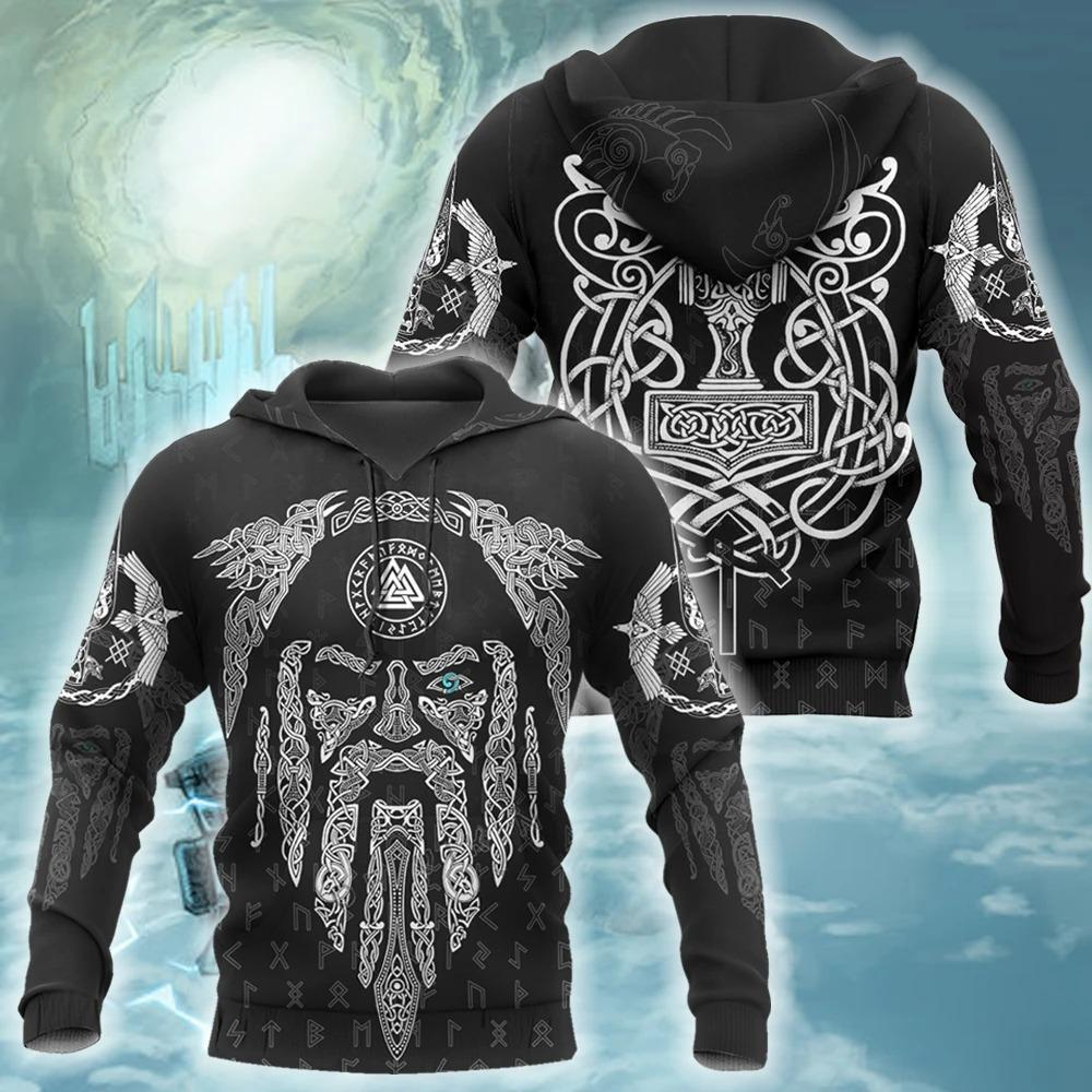 viking raven and odin all over printed shirt 1