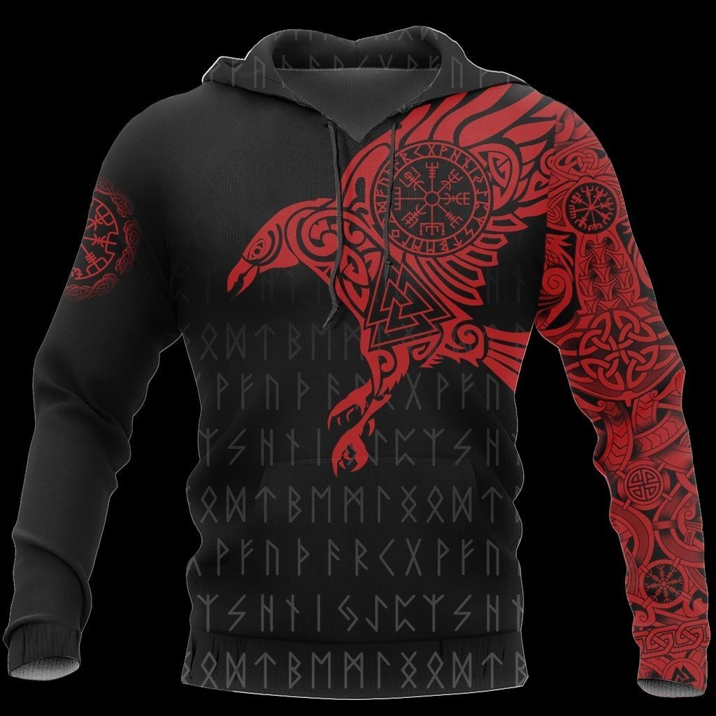 vikings the raven of odin tattoo red all over printed shirt 1