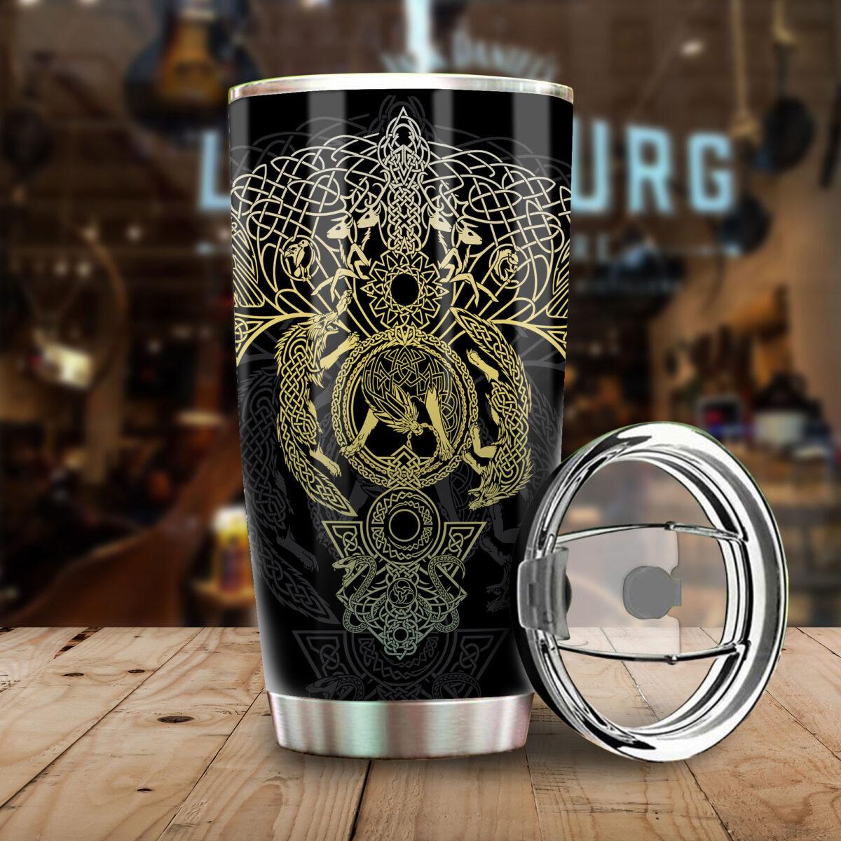 vikings wolf all over print stainless steel tumbler 4
