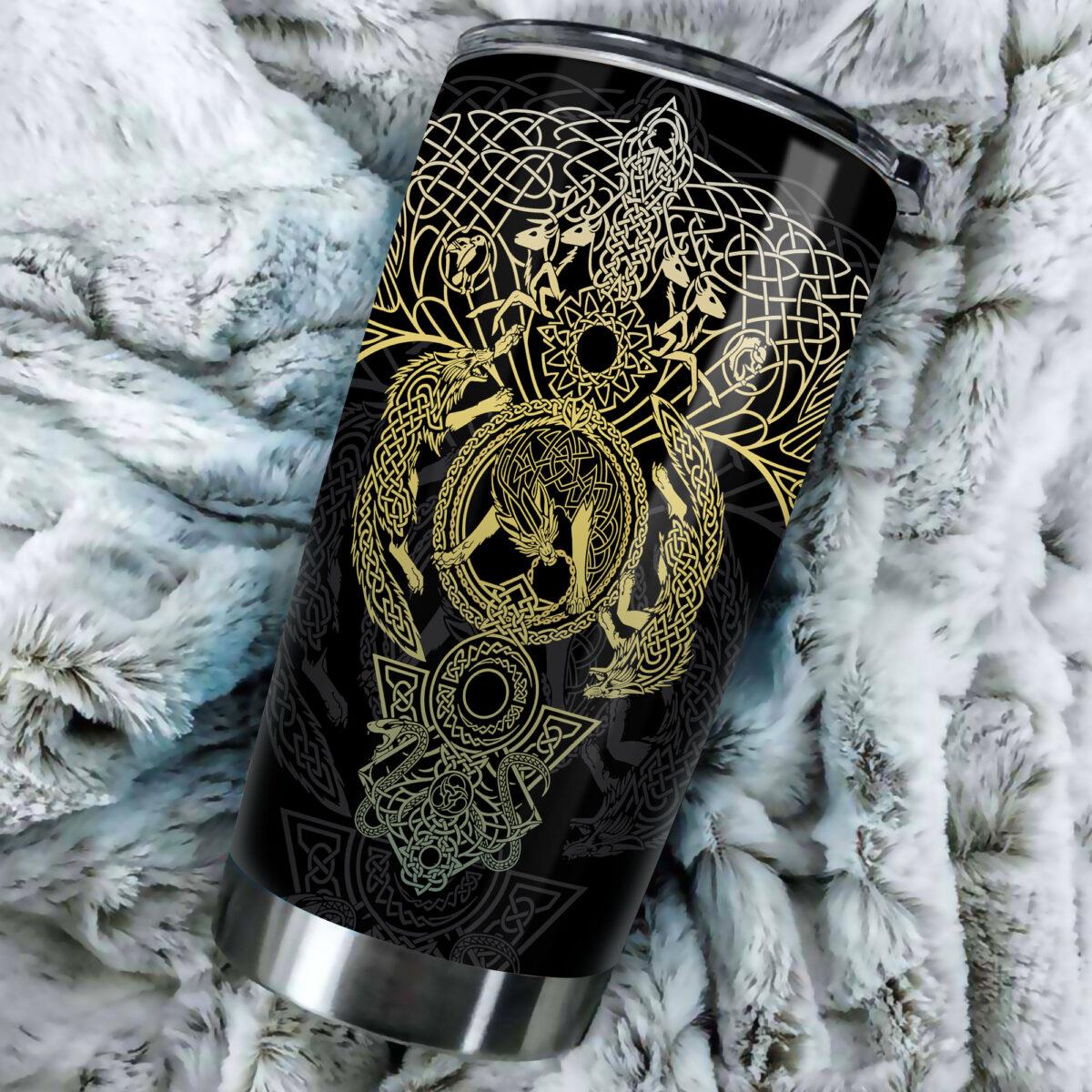 vikings wolf all over print stainless steel tumbler 5