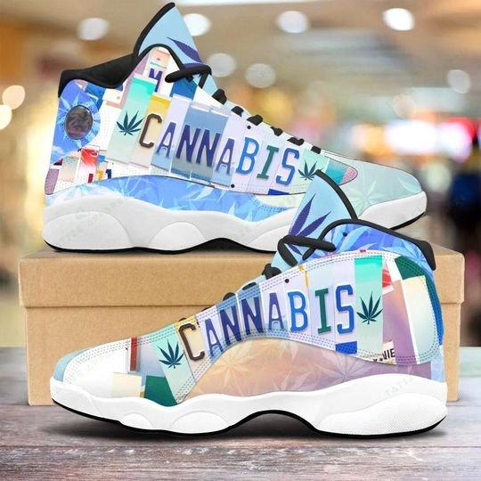 vintage cannabis license plate all over printed air jordan 13 sneakers 1