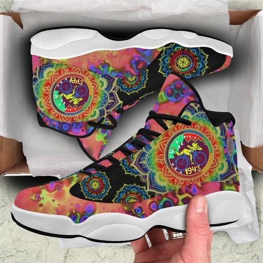 vintage mandala mushroom colorful all over printed air jordan 13 sneakers 1