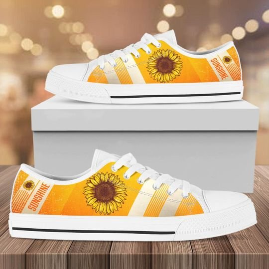 vintage sunflower canvas full printing low top shoes 1