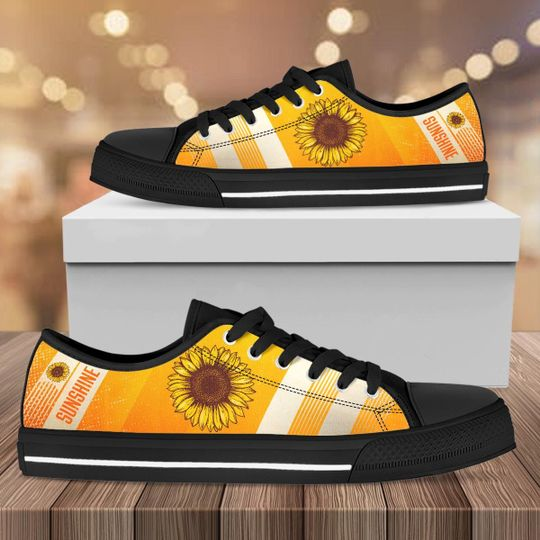 vintage sunflower full printing low top shoes 1