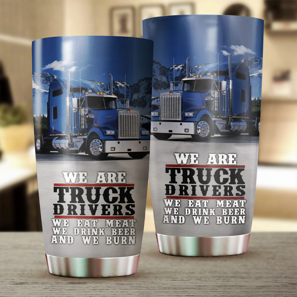 we are truck drivers all over print stainless steel tumbler 2