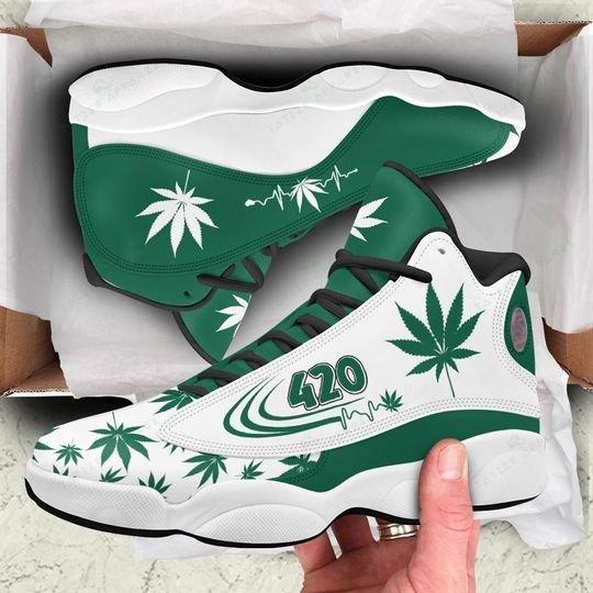 weed leaf 420 heartbeat all over printed air jordan 13 sneakers 1
