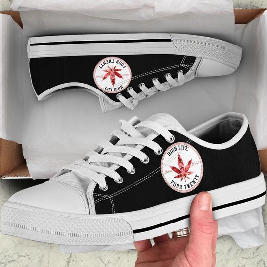 weed leaf high life four twenty low top shoes 1