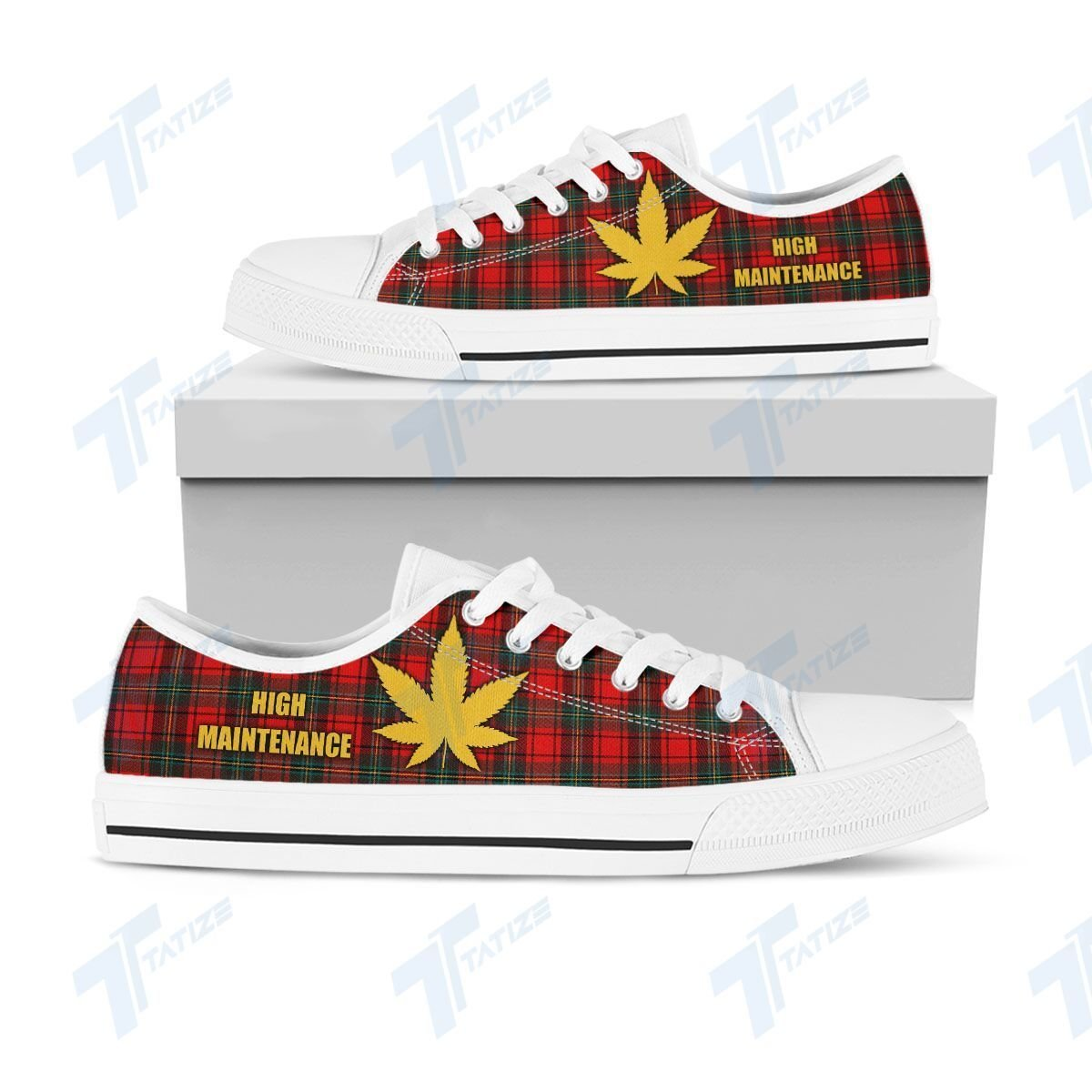 weed leaf high maintenance full printing low top shoes 1