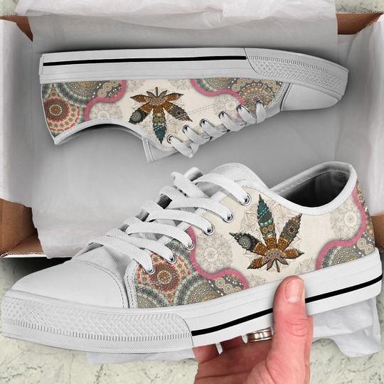 weed leaf mandala full printing low top shoes 1